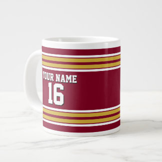 Burgundy with Gold White Stripes Team Jersey Giant Coffee Mug