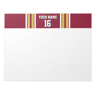 Burgundy with Gold White Stripes Team Jersey Notepad