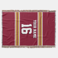 Burgundy with Gold White Stripes Team Jersey Throw Blanket