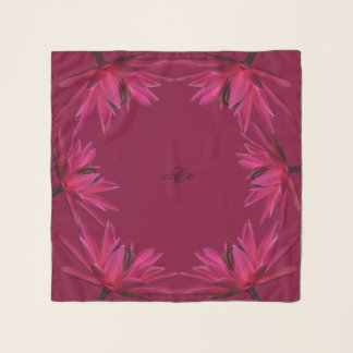 Burgundy with Pink Water Lily Square Chiffon Scarf