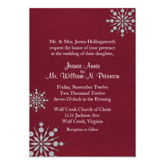 Burgundy with Snowflakes Winter Wedding Invitation