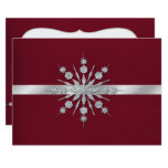 Burgundy with Snowflakes Winter Wedding RSVP Card