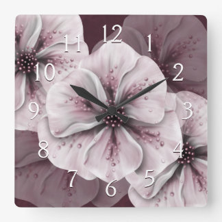 Burgundy with Soft Pink Flowers Square Wall Clock