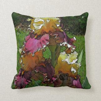 """""""Burgundy & Yellow Iris"""" (photog./digital manipula Throw Pillow"""