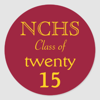 Burgundy & Yellow School Letters Grad Sticker