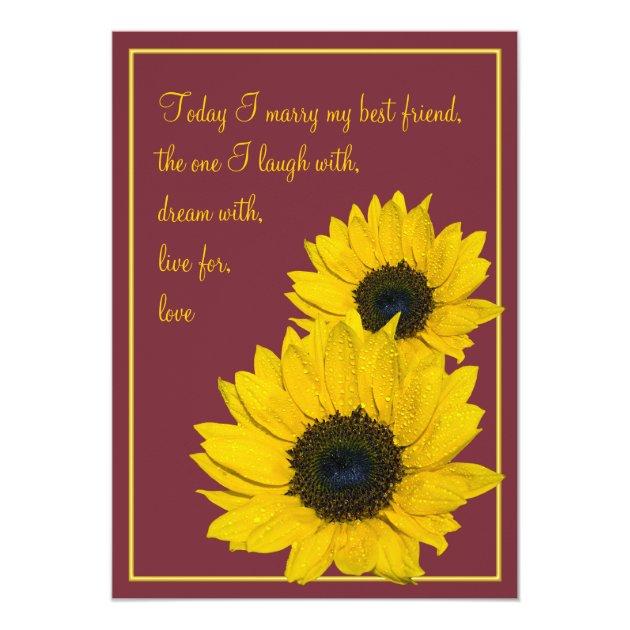 burgundy yellow sunflower wedding invitation