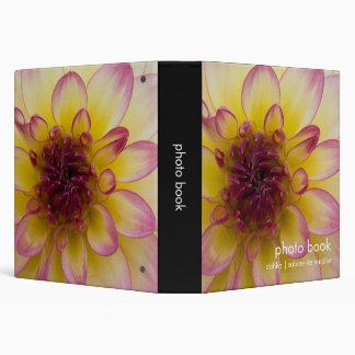 Burgundy, Yellow & White Dahlia 3 Ring Binder
