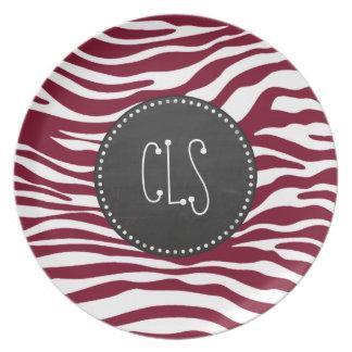 Burgundy Zebra Animal Print; Retro Chalkboard Plate