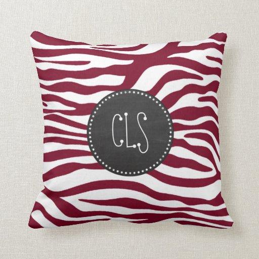 Burgundy Print Throw Pillows : Burgundy Zebra Animal Print; Retro Chalkboard Throw Pillow Zazzle