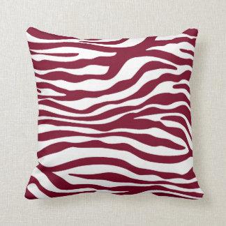 Burgundy Zebra Animal Print Throw Pillow
