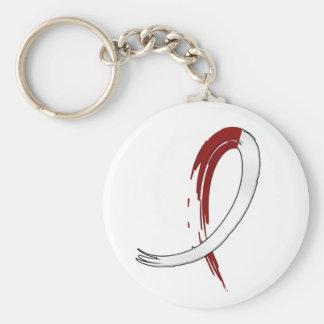 Burgungy y cinta blanca A4 del cáncer principal Llavero Redondo Tipo Pin