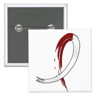 Burgungy y cinta blanca A4 del cáncer principal Pin Cuadrado