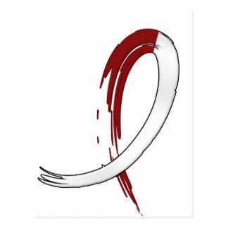 Burgungy y cinta blanca A4 del cáncer principal Tarjeta Postal