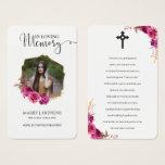 Burguny Blossom Photo Memorial Prayer Cards