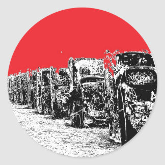 Buried Cadillacs with Red Sky Classic Round Sticker
