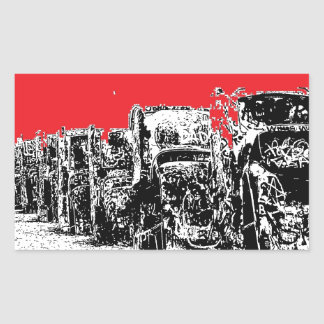 Buried Cadillacs with Red Sky Rectangular Sticker