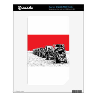 Buried Cadillacs with Red Sky NOOK Color Decal