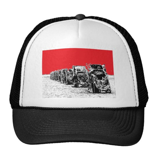 Buried Cadillacs with Red Sky Trucker Hat
