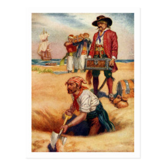 Buried Treasure Vintage Pirate Postcard