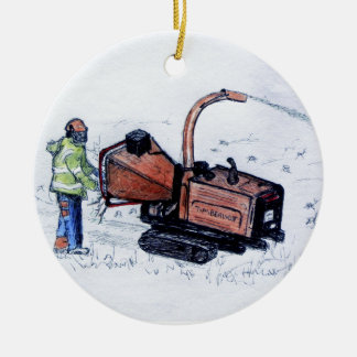 Burilador de madera de Timberwolf Adorno Navideño Redondo De Cerámica