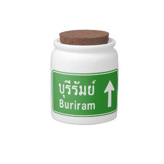 Buriram Ahead ⚠ Thai Highway Traffic Sign ⚠ Candy Dish