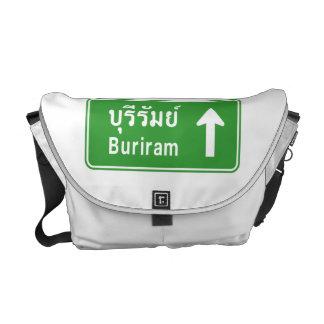 Buriram Ahead ⚠ Thai Highway Traffic Sign ⚠ Messenger Bag