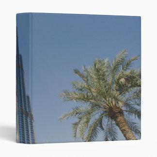 Burj Khalifa, Dubai and palm trees 3 Ring Binder