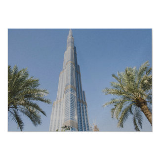 Burj Khalifa, Dubai and palm trees Card