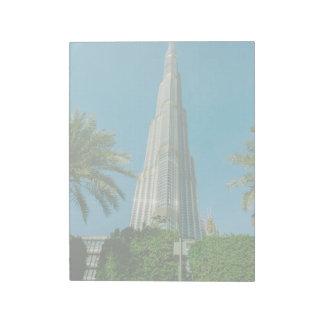 Burj Khalifa, Dubai and palm trees Notepad