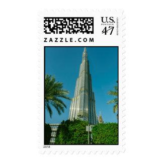 Burj Khalifa, Dubai and palm trees Postage
