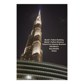 Burj Khalifa el edificio más alto del mundo Duba Poster
