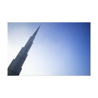Burj Khalifa in the Dubai bright blue sky Stretched Canvas Print