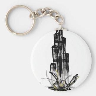 burj khalifa basic round button keychain