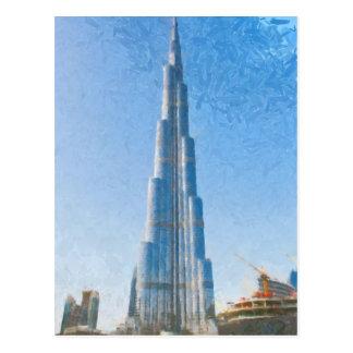 Burj Khalifa, pintura de Dubai Tarjetas Postales