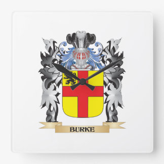 Burke Coat of Arms - Family Crest Square Wall Clock