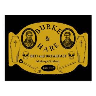 Burke y las liebres acuestan - y - el desayuno tarjeta postal