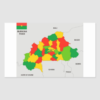 burkina faso country political map flag rectangular sticker