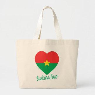 Burkina Faso Flag Heart Canvas Bags