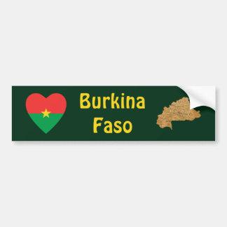 Burkina Faso Flag Heart + Map Bumper Sticker