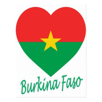 Burkina Faso Flag Heart Post Card