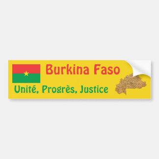 Burkina Faso Flag + Map Bumper Sticker