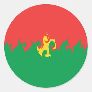 Burkina Faso Gnarly Flag Classic Round Sticker