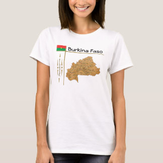Burkina Faso Map + Flag + Title T-Shirt