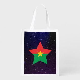 Burkina Faso Star Design Flag Grocery Bag