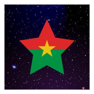 Burkina Faso Star Design Flag Poster
