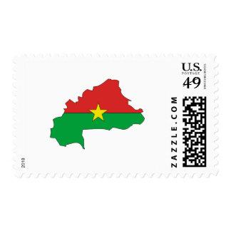 Burkina flag map postage stamp