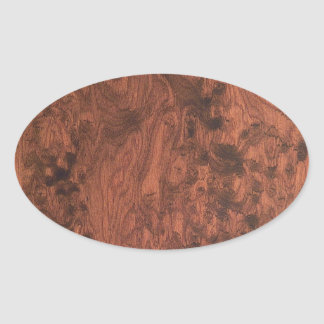 Burl Mahogany Wood Texture Oval Sticker