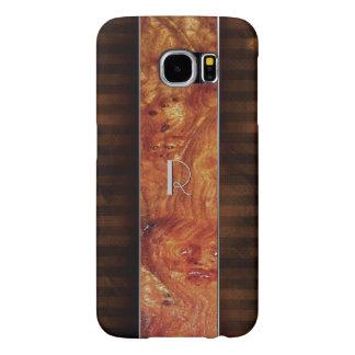 Burl Wood Look Monogrammed Samsung S6 Case