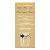 burla, navy blue rose mason jar wedding program