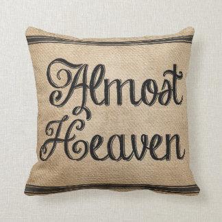Burlap Almost Heaven Throw Pillow